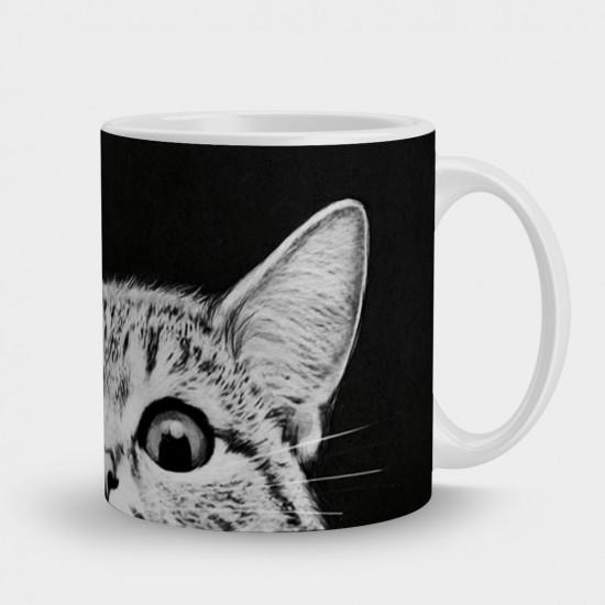 Кружка Кот глаза на черном