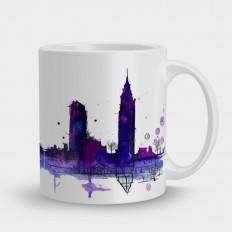 кружка город фиолетовый