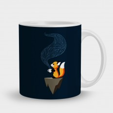 кружка лисенок с кофе